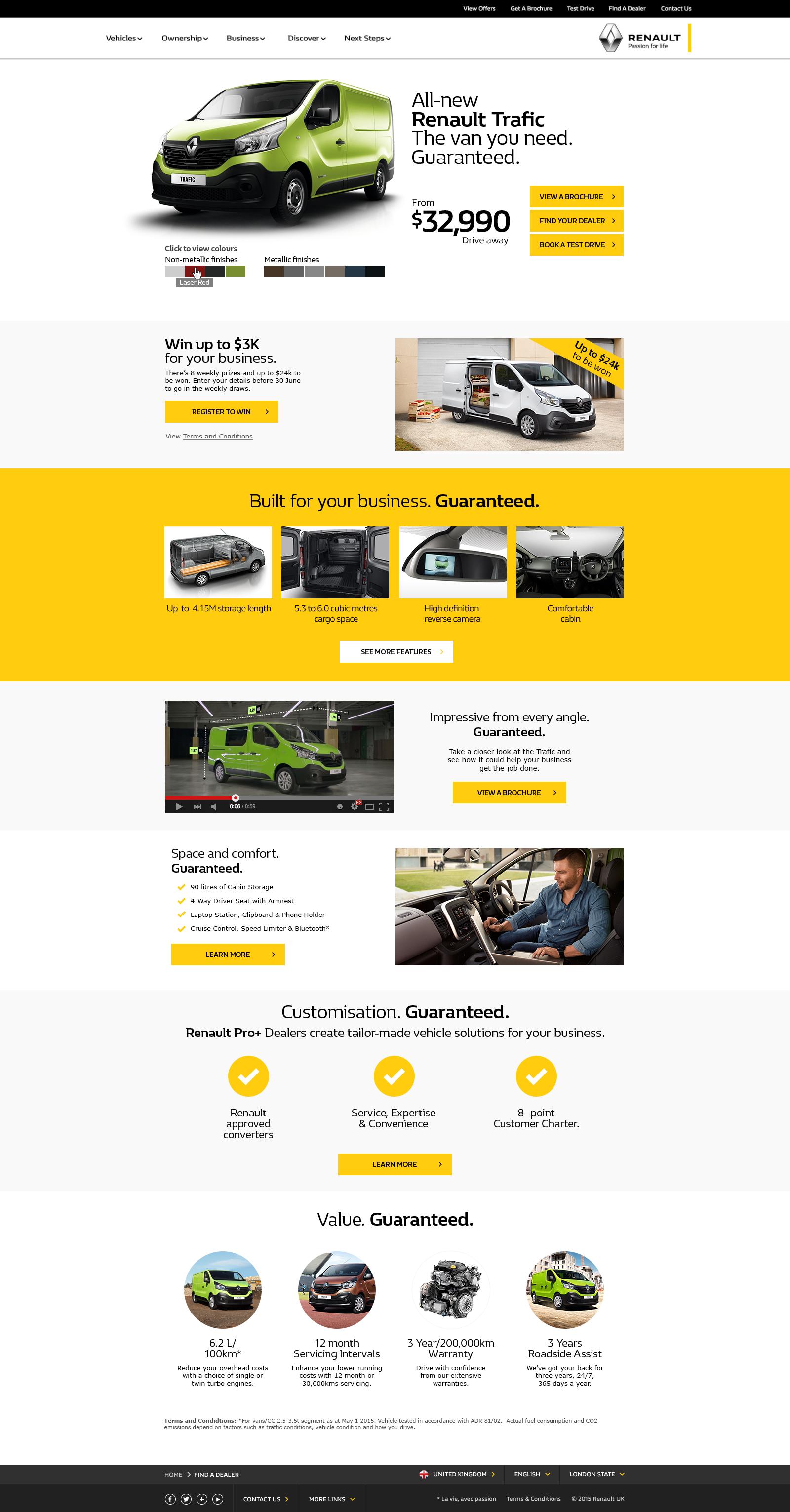 Renault Trafic Landing Page
